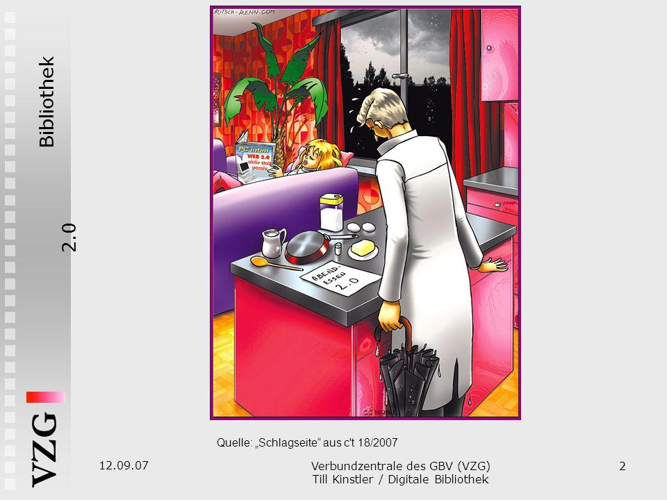 """Bibliothek2.0 VZG 12.09.07 Verbundzentrale des GBV (VZG)  Till Kinstler / Digitale Bibliothek 2 Quelle: """"Schlagseite aus c t 18/2007"""
