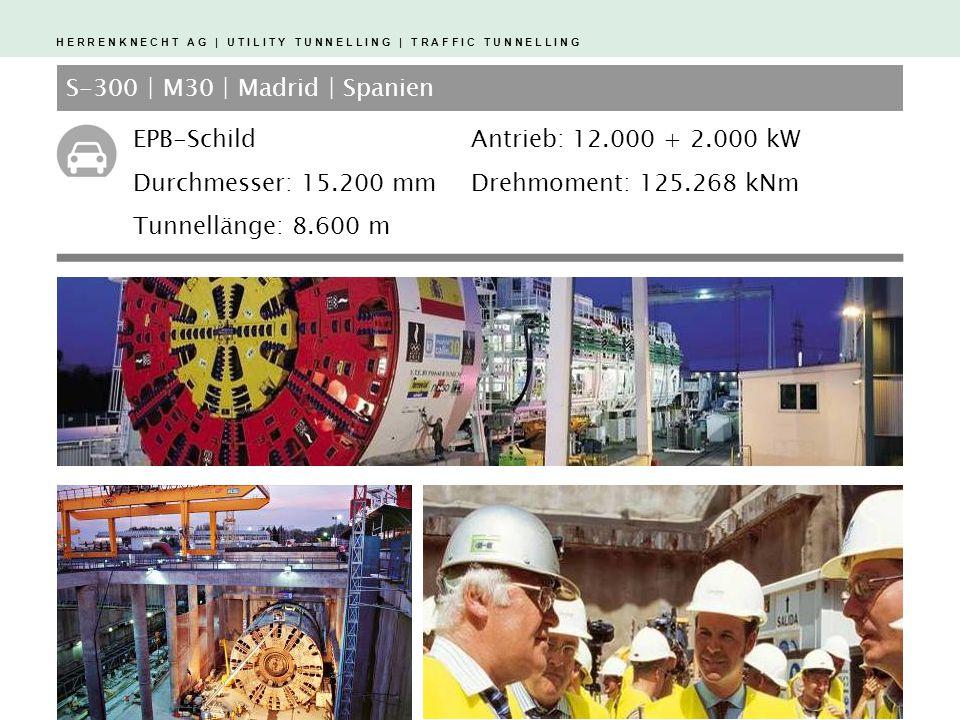 H E R R E N K N E C H T A G | U T I L I T Y T U N N E L L I N G | T R A F F I C T U N N E L L I N G S-300 | M30 | Madrid | Spanien EPB-Schild Durchmesser: 15.200 mm Tunnellänge: 8.600 m Antrieb: 12.000 + 2.000 kW Drehmoment: 125.268 kNm
