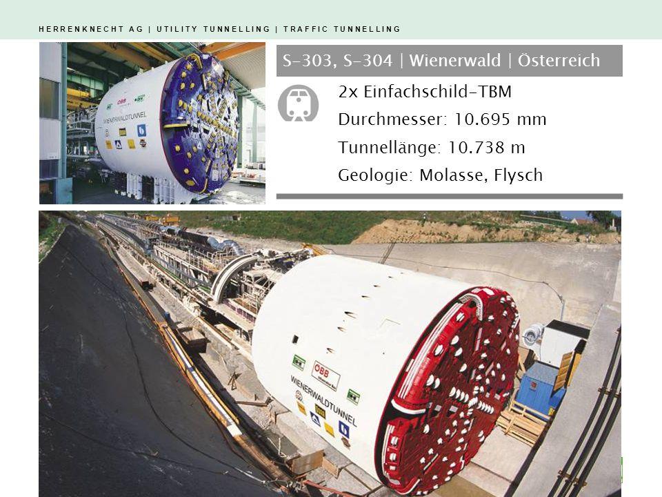 H E R R E N K N E C H T A G | U T I L I T Y T U N N E L L I N G | T R A F F I C T U N N E L L I N G 1 2 3 S-303, S-304 | Wienerwald | Österreich 2x Einfachschild-TBM Durchmesser: 10.695 mm Tunnellänge: 10.738 m Geologie: Molasse, Flysch