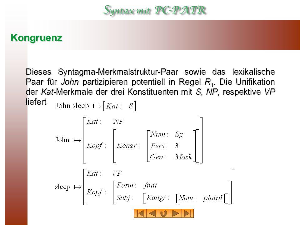 Kongruenz Die Unifikation der Kopfmerkmale von S und VP ergibt Der letzte Unifikationsschritt scheitert: und sind nicht unifiziertbar
