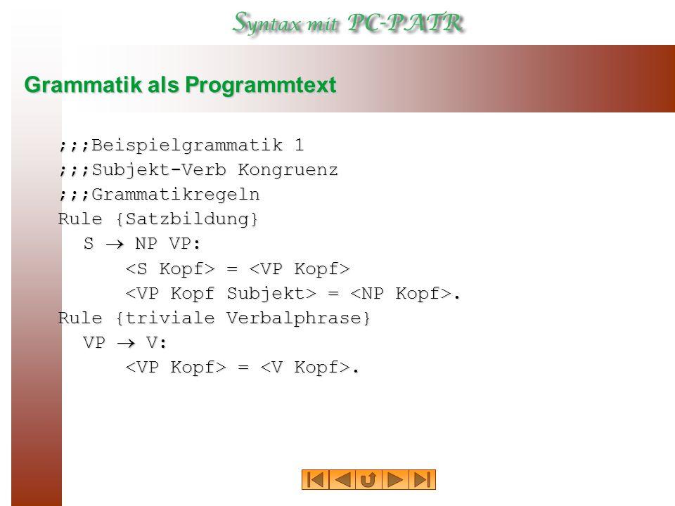 Grammatik als Programmtext ;;;Beispielgrammatik 1 ;;;Subjekt ‑ Verb Kongruenz ;;;Grammatikregeln Rule {Satzbildung} S  NP VP: = = =.