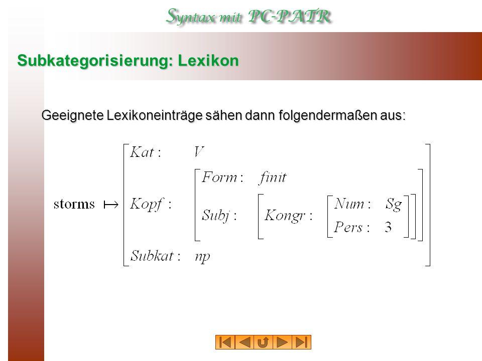 Subkategorisierung: Lexikon Geeignete Lexikoneinträge sähen dann folgendermaßen aus: