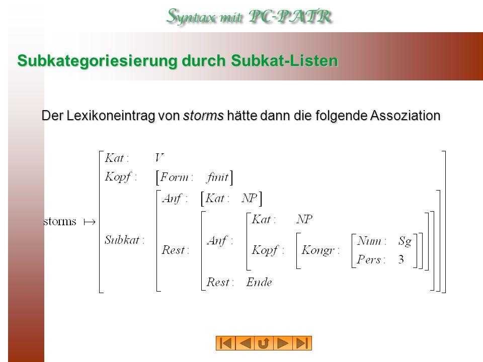 Subkategoriesierung durch Subkat-Listen Der Lexikoneintrag von storms hätte dann die folgende Assoziation