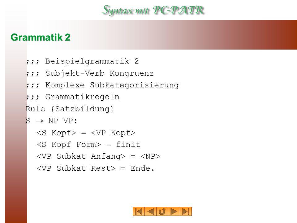 Grammatik 2 ;;; Beispielgrammatik 2 ;;; Subjekt ‑ Verb Kongruenz ;;; Komplexe Subkategorisierung ;;; Grammatikregeln Rule {Satzbildung} S  NP VP: = = = finit = finit = = = Ende.