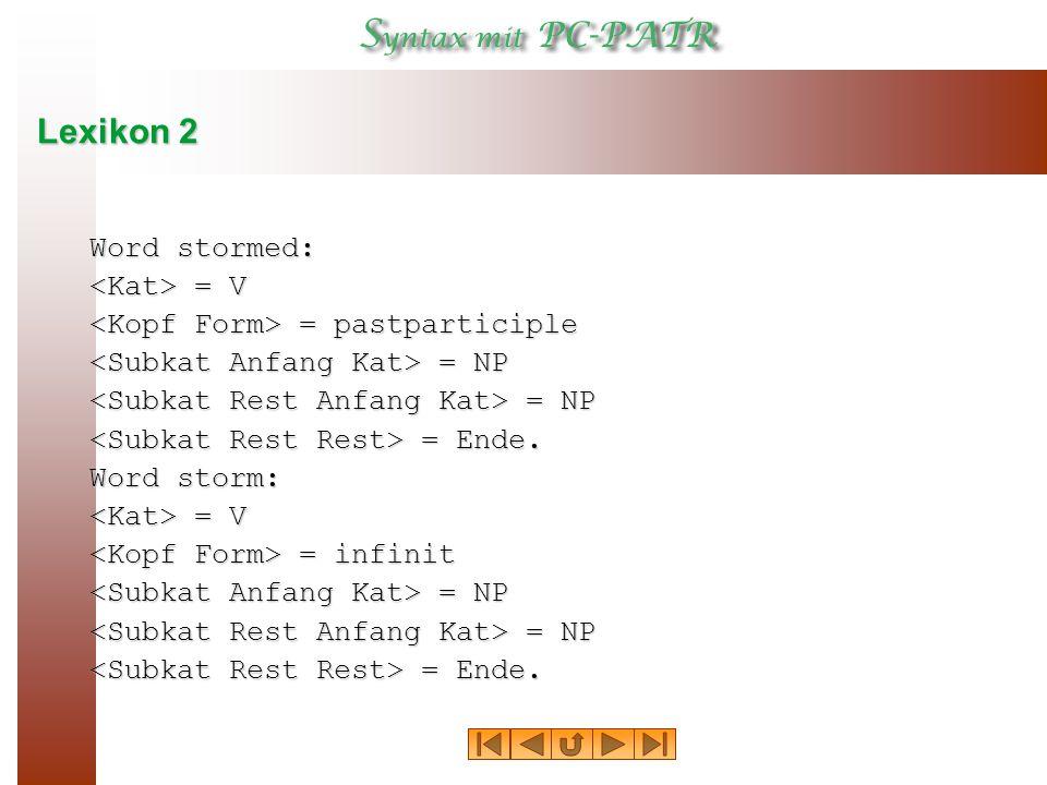 Lexikon 2 Word stormed: = V = V = pastparticiple = pastparticiple = NP = NP = Ende.