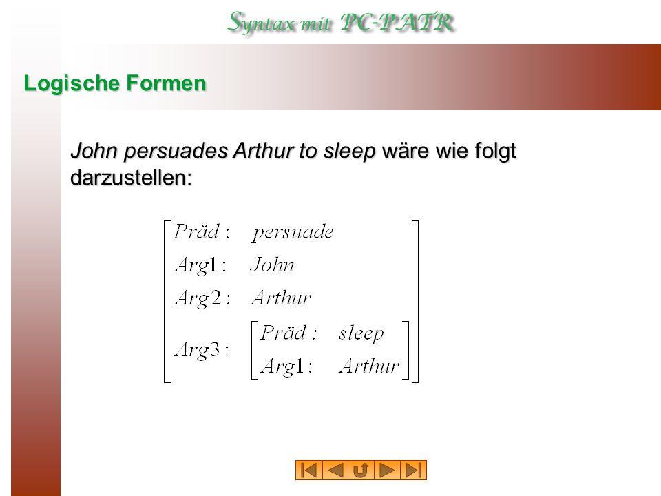 Logische Formen In dieser Grammatik ist die dargestellte logische Form der Wert des Pfades  Kopf Trans .