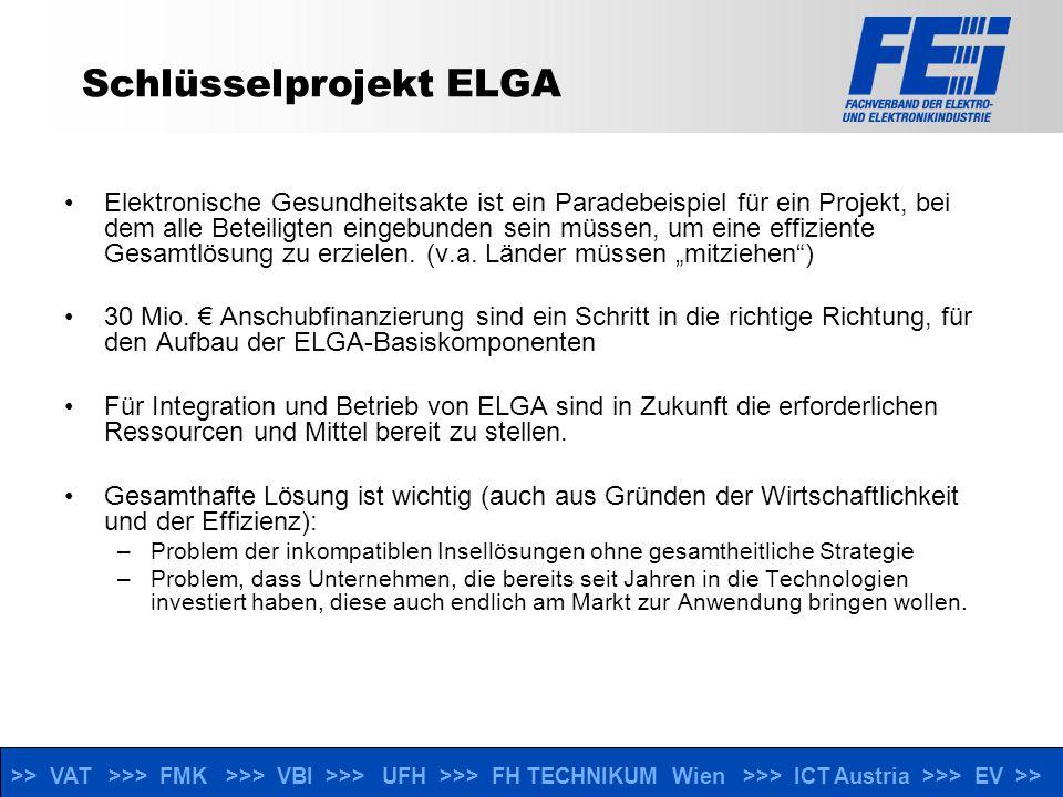 >> VAT >>> FMK >>> VBI >>> UFH >>> FH TECHNIKUM Wien >>> ICT Austria >>> EV >> Schlüsselprojekt ELGA Elektronische Gesundheitsakte ist ein Paradebeispiel für ein Projekt, bei dem alle Beteiligten eingebunden sein müssen, um eine effiziente Gesamtlösung zu erzielen.