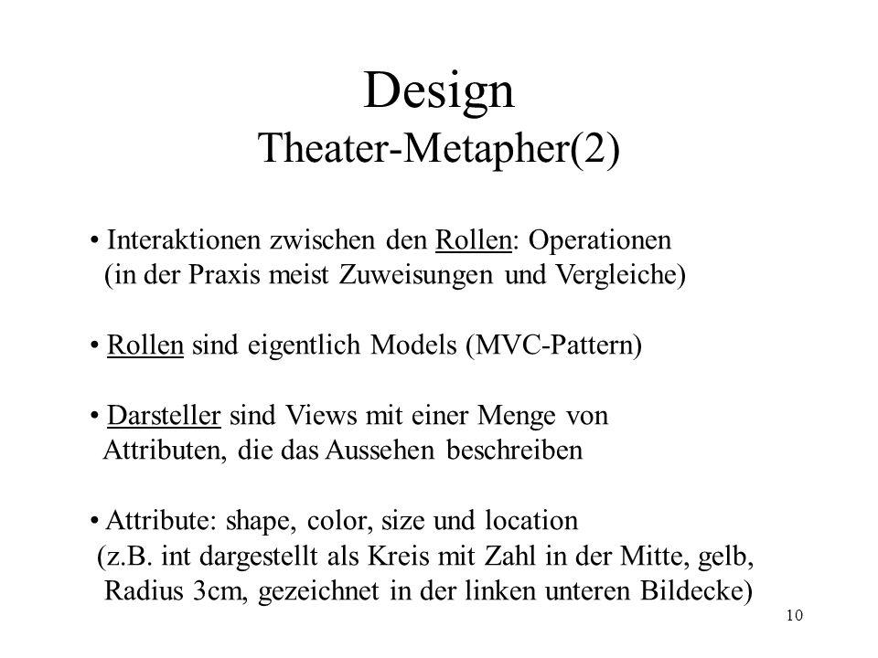 10 Design Theater-Metapher(2) Interaktionen zwischen den Rollen: Operationen (in der Praxis meist Zuweisungen und Vergleiche) Rollen sind eigentlich Models (MVC-Pattern) Darsteller sind Views mit einer Menge von Attributen, die das Aussehen beschreiben Attribute: shape, color, size und location (z.B.
