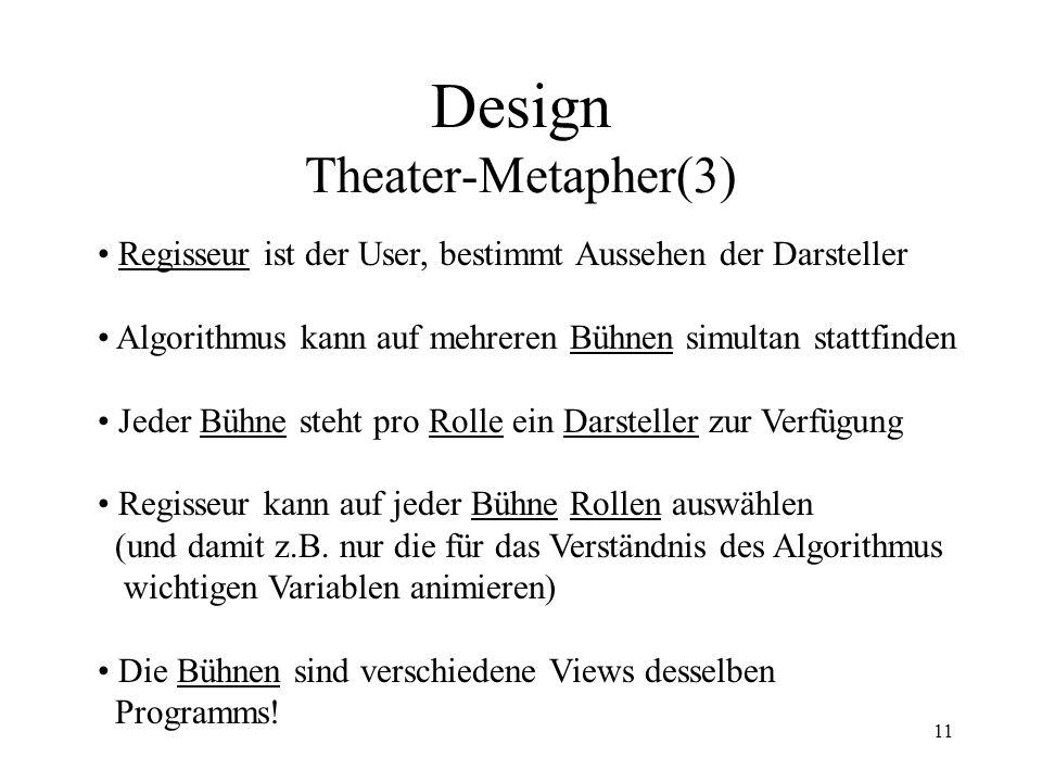 11 Design Theater-Metapher(3) Regisseur ist der User, bestimmt Aussehen der Darsteller Algorithmus kann auf mehreren Bühnen simultan stattfinden Jeder Bühne steht pro Rolle ein Darsteller zur Verfügung Regisseur kann auf jeder Bühne Rollen auswählen (und damit z.B.