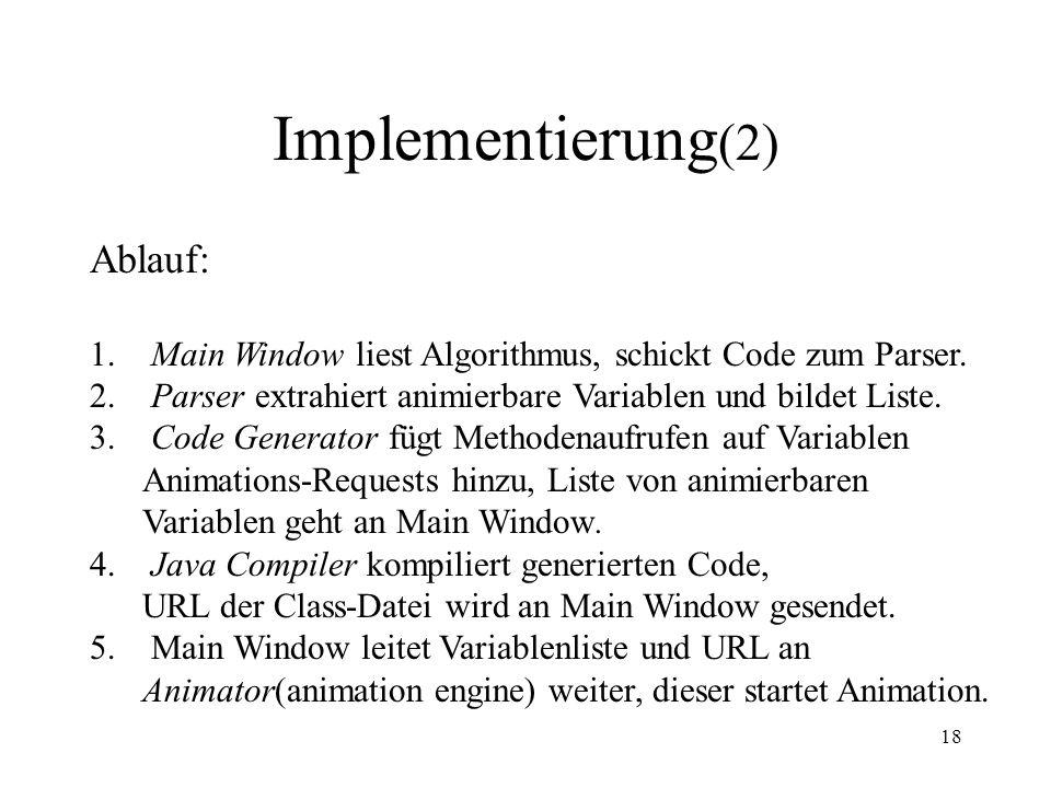 18 Implementierung (2) Ablauf: 1.Main Window liest Algorithmus, schickt Code zum Parser.