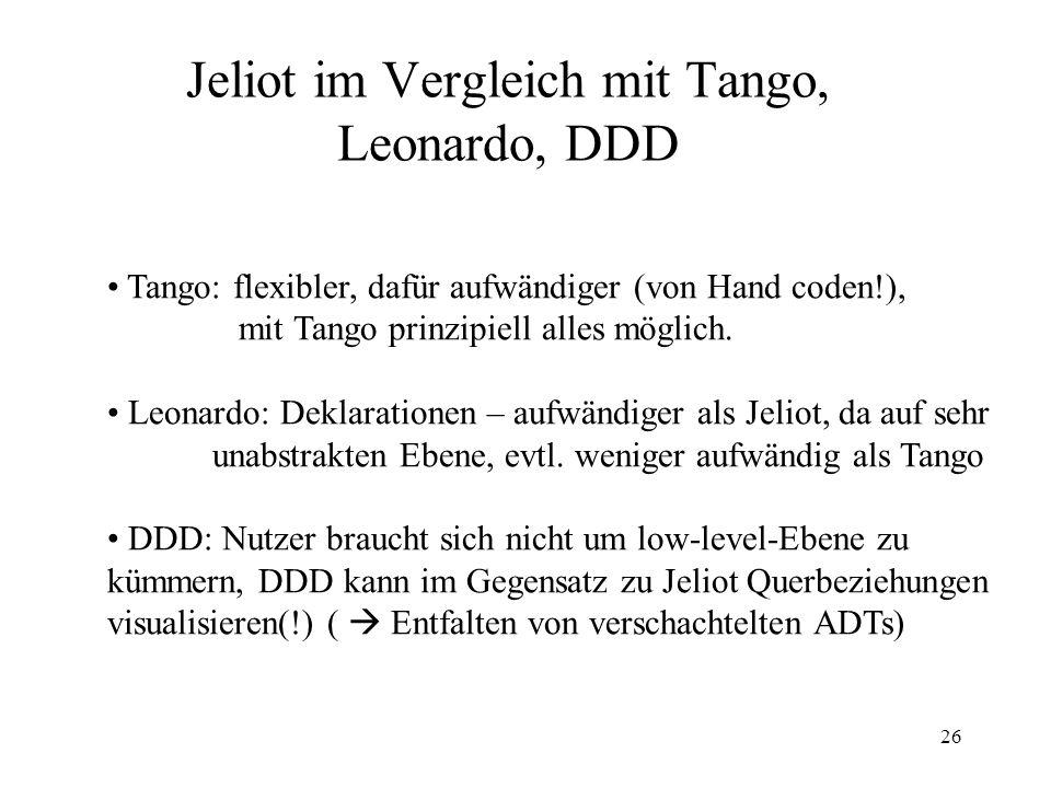26 Jeliot im Vergleich mit Tango, Leonardo, DDD Tango: flexibler, dafür aufwändiger (von Hand coden!), mit Tango prinzipiell alles möglich.