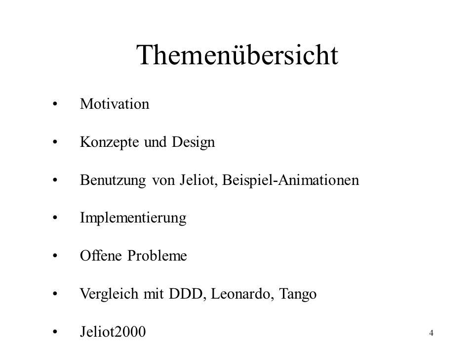 4 Themenübersicht Motivation Konzepte und Design Benutzung von Jeliot, Beispiel-Animationen Implementierung Offene Probleme Vergleich mit DDD, Leonardo, Tango Jeliot2000