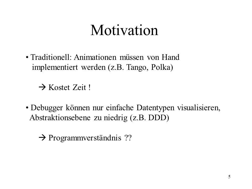 5 Motivation Traditionell: Animationen müssen von Hand implementiert werden (z.B.