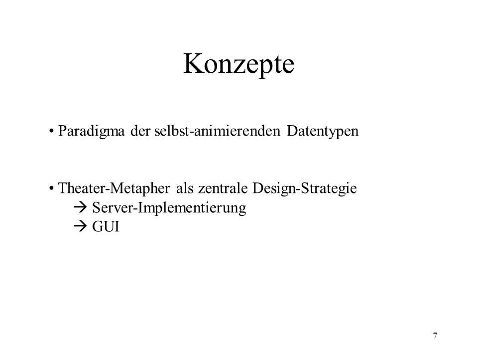 7 Konzepte Paradigma der selbst-animierenden Datentypen Theater-Metapher als zentrale Design-Strategie  Server-Implementierung  GUI (sowohl in der Server-Implementierung als auch in der GUI)
