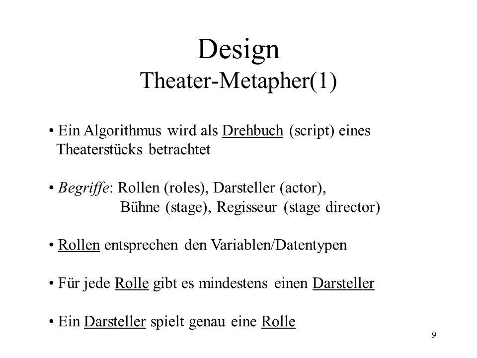9 Design Theater-Metapher(1) Ein Algorithmus wird als Drehbuch (script) eines Theaterstücks betrachtet Begriffe: Rollen (roles), Darsteller (actor), Bühne (stage), Regisseur (stage director) Rollen entsprechen den Variablen/Datentypen Für jede Rolle gibt es mindestens einen Darsteller Ein Darsteller spielt genau eine Rolle
