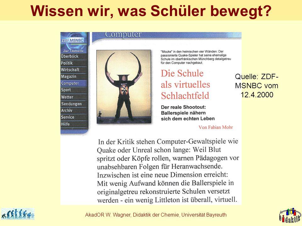 AkadOR W. Wagner, Didaktik der Chemie, Universität Bayreuth Wissen wir, was Schüler bewegt? Quelle: ZDF- MSNBC vom 12.4.2000