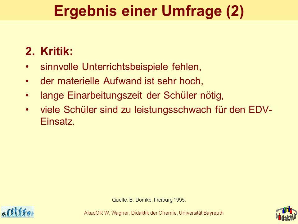 AkadOR W. Wagner, Didaktik der Chemie, Universität Bayreuth Ergebnis einer Umfrage (2) 2.Kritik: sinnvolle Unterrichtsbeispiele fehlen, der materielle