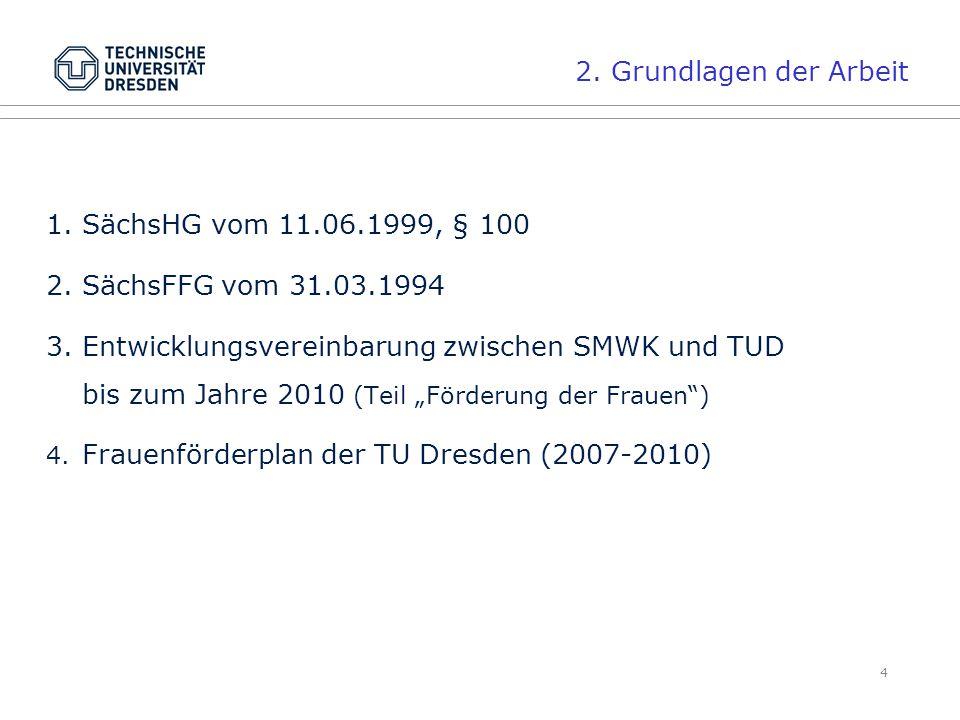 """4 1.SächsHG vom 11.06.1999, § 100 2.SächsFFG vom 31.03.1994 3.Entwicklungsvereinbarung zwischen SMWK und TUD bis zum Jahre 2010 (Teil """"Förderung der Frauen ) 4."""