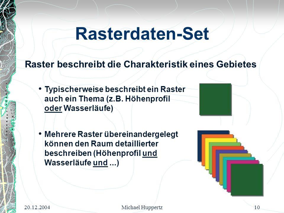 20.12.2004Michael Huppertz10 Rasterdaten-Set Raster beschreibt die Charakteristik eines Gebietes Typischerweise beschreibt ein Raster auch ein Thema (
