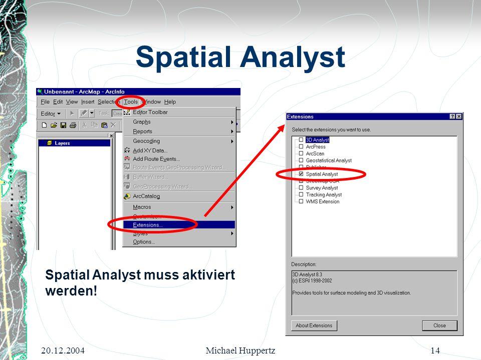 20.12.2004Michael Huppertz14 Spatial Analyst Spatial Analyst muss aktiviert werden!