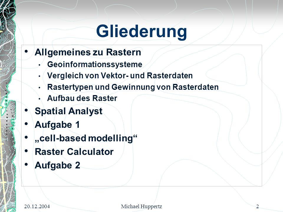 20.12.2004Michael Huppertz13 Spatial Analyst Spatial Analyst verändert die Werte des Rasters und erzeugt daraus ein neues Raster.