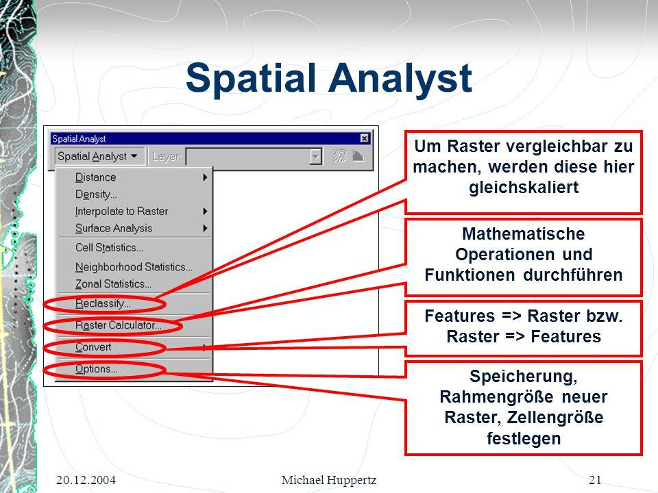 20.12.2004Michael Huppertz21 Spatial Analyst Um Raster vergleichbar zu machen, werden diese hier gleichskaliert Mathematische Operationen und Funktion