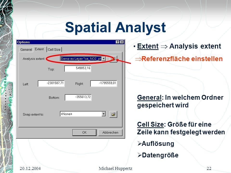 20.12.2004Michael Huppertz22 Spatial Analyst Extent  Analysis extent  Referenzfläche einstellen General: In welchem Ordner gespeichert wird Cell Siz