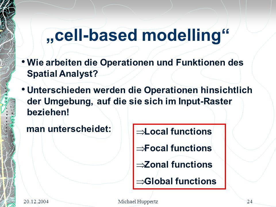 20.12.2004Michael Huppertz24 Wie arbeiten die Operationen und Funktionen des Spatial Analyst? Unterschieden werden die Operationen hinsichtlich der Um