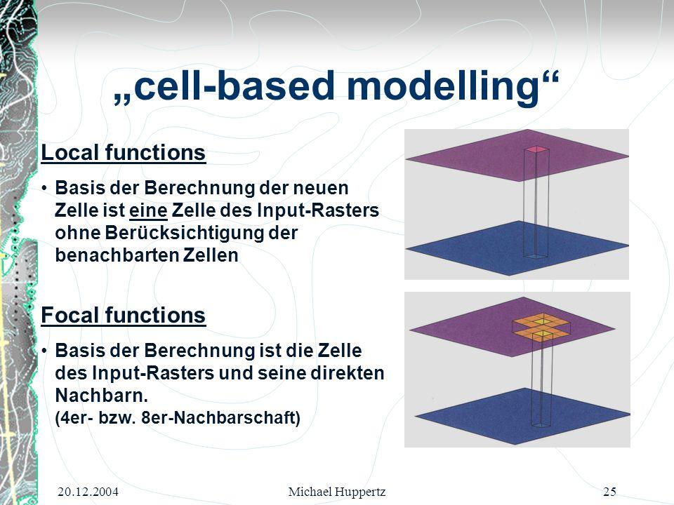 20.12.2004Michael Huppertz25 Local functions Basis der Berechnung der neuen Zelle ist eine Zelle des Input-Rasters ohne Berücksichtigung der benachbar