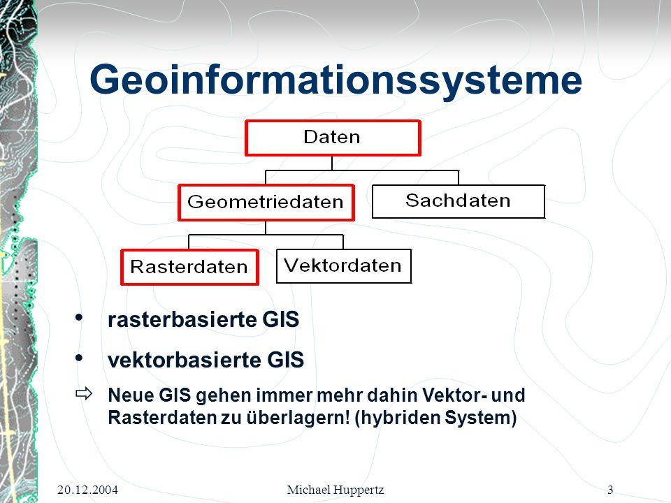 20.12.2004Michael Huppertz3 Geoinformationssysteme rasterbasierte GIS vektorbasierte GIS  Neue GIS gehen immer mehr dahin Vektor- und Rasterdaten zu