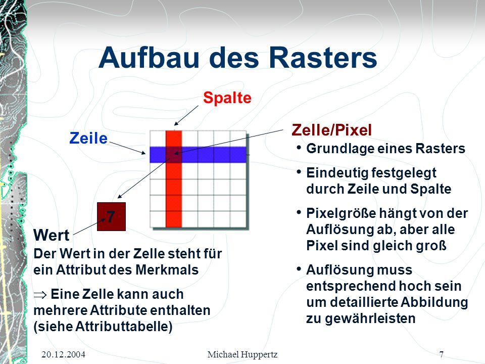 20.12.2004Michael Huppertz8 Aufbau des Rasters Attribute Es gibt mehrere Zellen mit dem gleichen Wert und diese haben alle die gleichen Attribute Raster und Attributtabelle