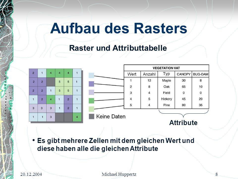 20.12.2004Michael Huppertz8 Aufbau des Rasters Attribute Es gibt mehrere Zellen mit dem gleichen Wert und diese haben alle die gleichen Attribute Rast