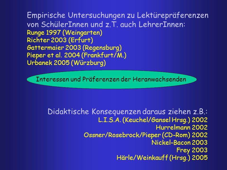 Interessen und Präferenzen der Heranwachsenden Empirische Untersuchungen zu Lektürepräferenzen von SchülerInnen und z.T. auch LehrerInnen: Runge 1997