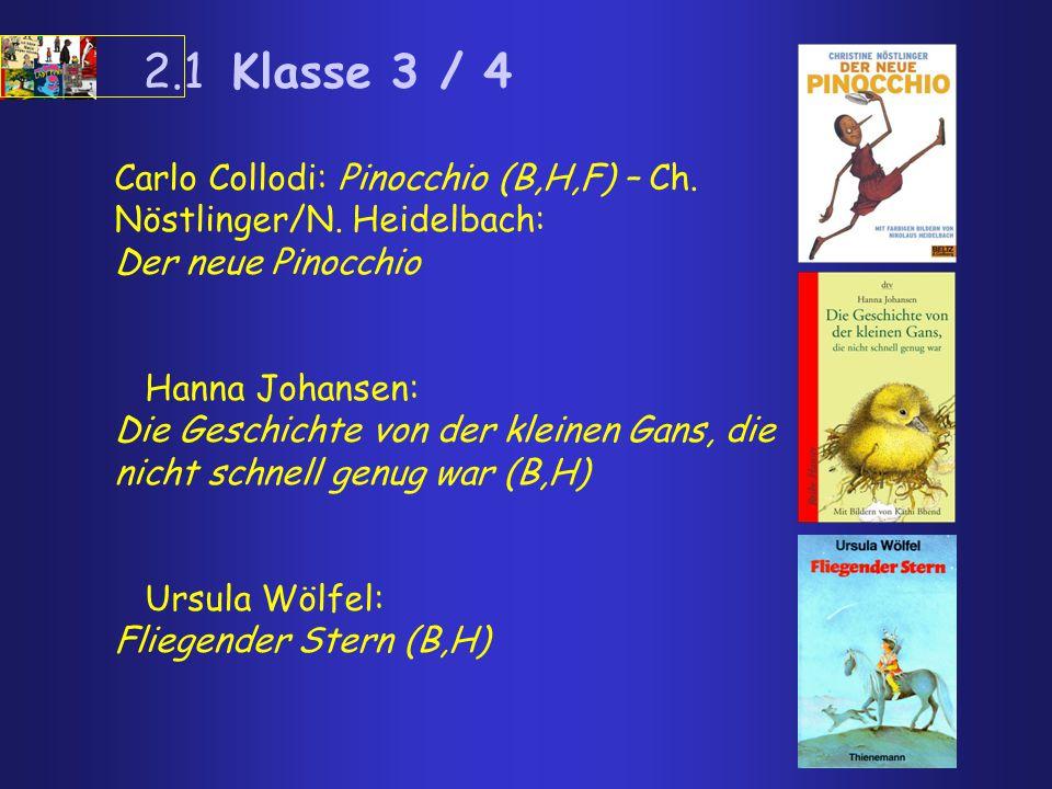2.1 Klasse 3 / 4 Carlo Collodi: Pinocchio (B,H,F) – Ch. Nöstlinger/N. Heidelbach: Der neue Pinocchio Hanna Johansen: Die Geschichte von der kleinen Ga