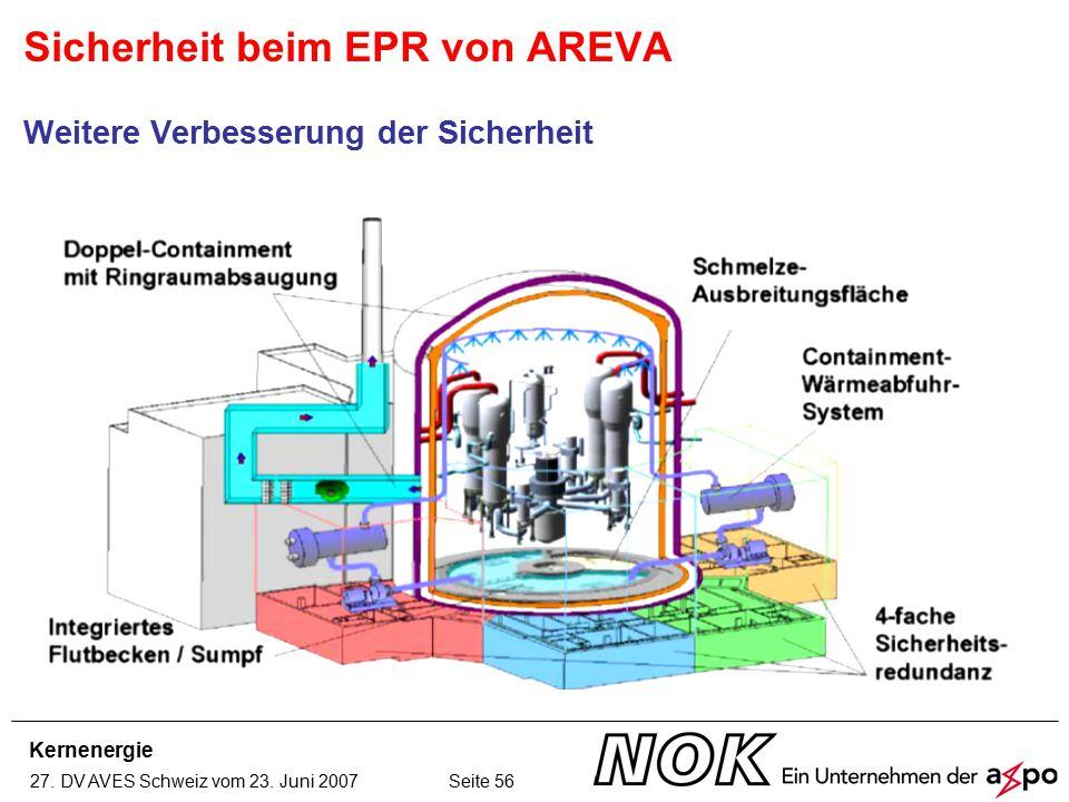 Kernenergie 27. DV AVES Schweiz vom 23. Juni 2007 Seite 56 Sicherheit beim EPR von AREVA Weitere Verbesserung der Sicherheit