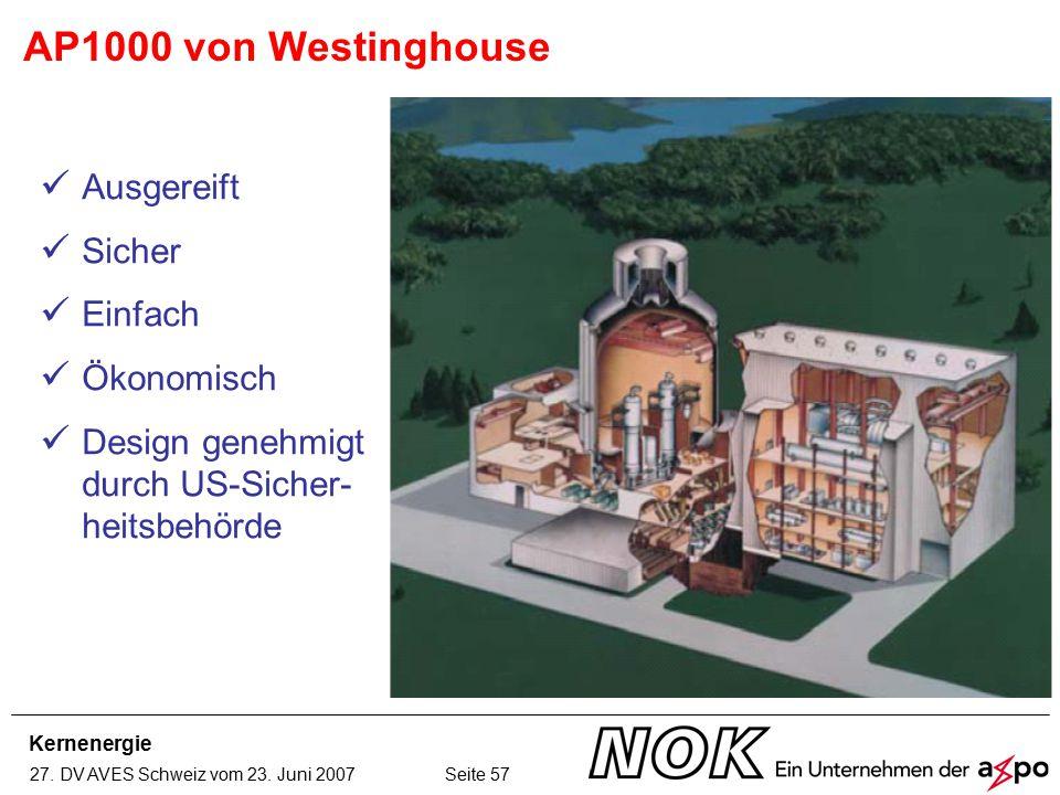 Kernenergie 27. DV AVES Schweiz vom 23. Juni 2007 Seite 57 AP1000 von Westinghouse Ausgereift Sicher Einfach Ökonomisch Design genehmigt durch US-Sich