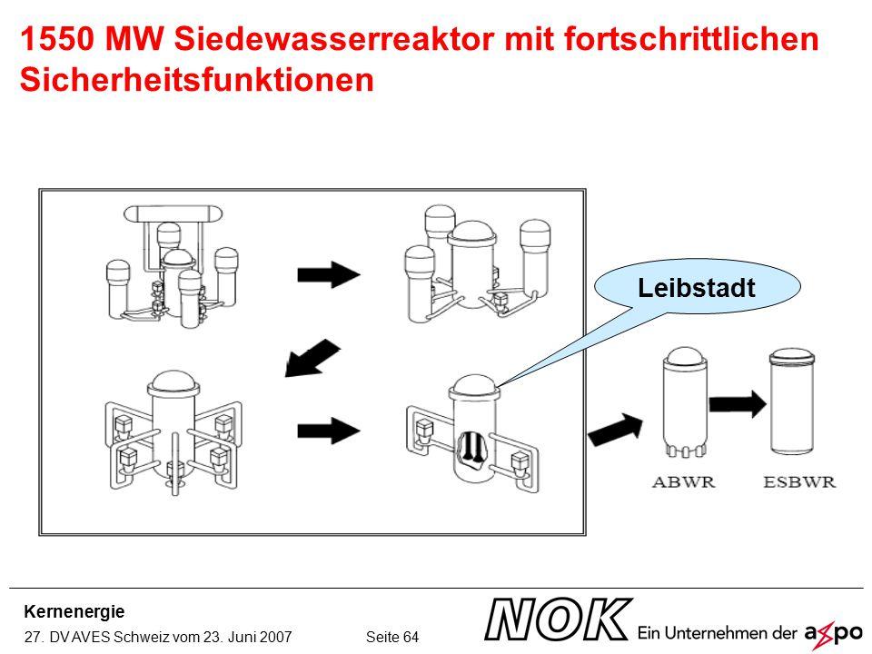 Kernenergie 27. DV AVES Schweiz vom 23. Juni 2007 Seite 64 1550 MW Siedewasserreaktor mit fortschrittlichen Sicherheitsfunktionen Leibstadt