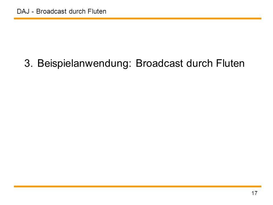 DAJ - 17 3. Beispielanwendung: Broadcast durch Fluten Broadcast durch Fluten
