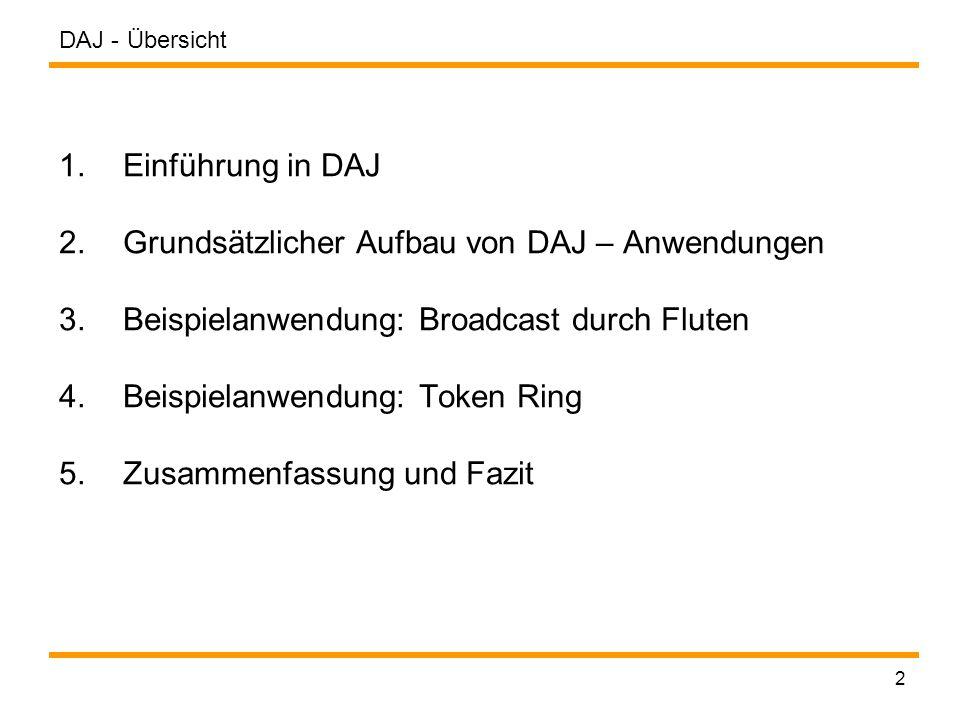 DAJ - 23 Knotenprogramme definieren Definition der main()-Methode: public class FloodNode extends Program { … public void main() { if(this.in().getSize() != 0) { // Überprüfen, ob der Knoten die Flut starten soll if(this.bStartFlood) { // an alle ausgehenden Kanäle senden this.out().send(new FloodMessage(this)); // Knotenflag auf true setzen this.bFlooded = true; } else { - hier Behandlung des ausgezeichneten Knotens zum Starten des Flutens