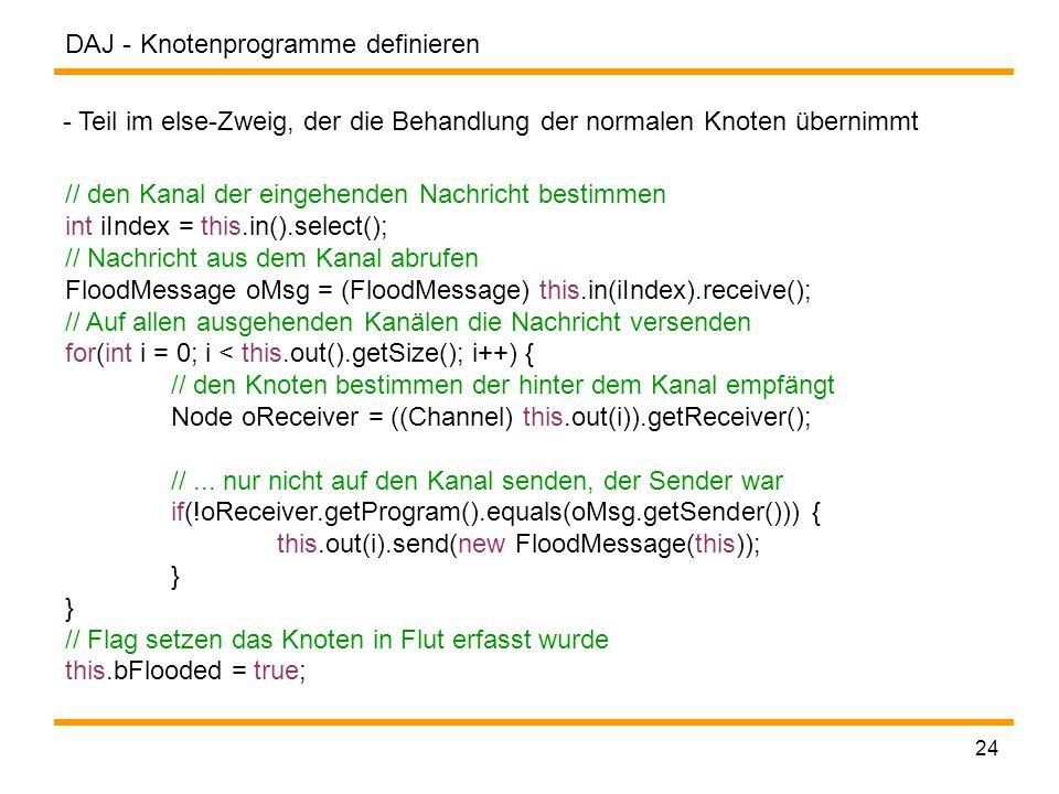 DAJ - 24 Knotenprogramme definieren // den Kanal der eingehenden Nachricht bestimmen int iIndex = this.in().select(); // Nachricht aus dem Kanal abrufen FloodMessage oMsg = (FloodMessage) this.in(iIndex).receive(); // Auf allen ausgehenden Kanälen die Nachricht versenden for(int i = 0; i < this.out().getSize(); i++) { // den Knoten bestimmen der hinter dem Kanal empfängt Node oReceiver = ((Channel) this.out(i)).getReceiver(); //...
