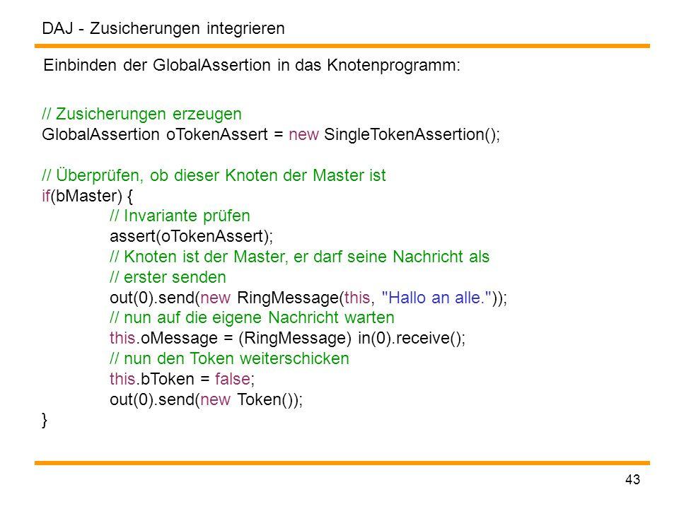 DAJ - 43 Zusicherungen integrieren Einbinden der GlobalAssertion in das Knotenprogramm: // Zusicherungen erzeugen GlobalAssertion oTokenAssert = new SingleTokenAssertion(); // Überprüfen, ob dieser Knoten der Master ist if(bMaster) { // Invariante prüfen assert(oTokenAssert); // Knoten ist der Master, er darf seine Nachricht als // erster senden out(0).send(new RingMessage(this, Hallo an alle. )); // nun auf die eigene Nachricht warten this.oMessage = (RingMessage) in(0).receive(); // nun den Token weiterschicken this.bToken = false; out(0).send(new Token()); }