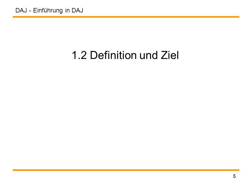 DAJ - 36 Anwendung / Applikation definieren Schritt 3 (Anwendung / Applikation definieren): Vorraussetzung: Jede DAJ-Anwendung muss die abstrakte Klasse Application erweitern und die Methode construct() implementieren.