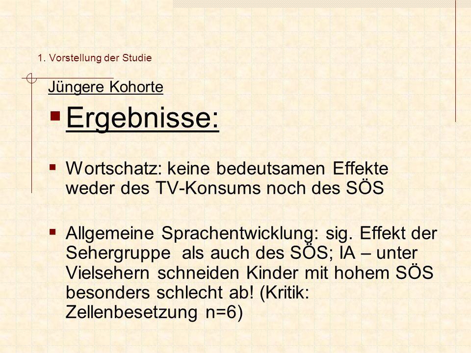 Jüngere Kohorte  Ergebnisse:  Wortschatz: keine bedeutsamen Effekte weder des TV-Konsums noch des SÖS  Allgemeine Sprachentwicklung: sig.