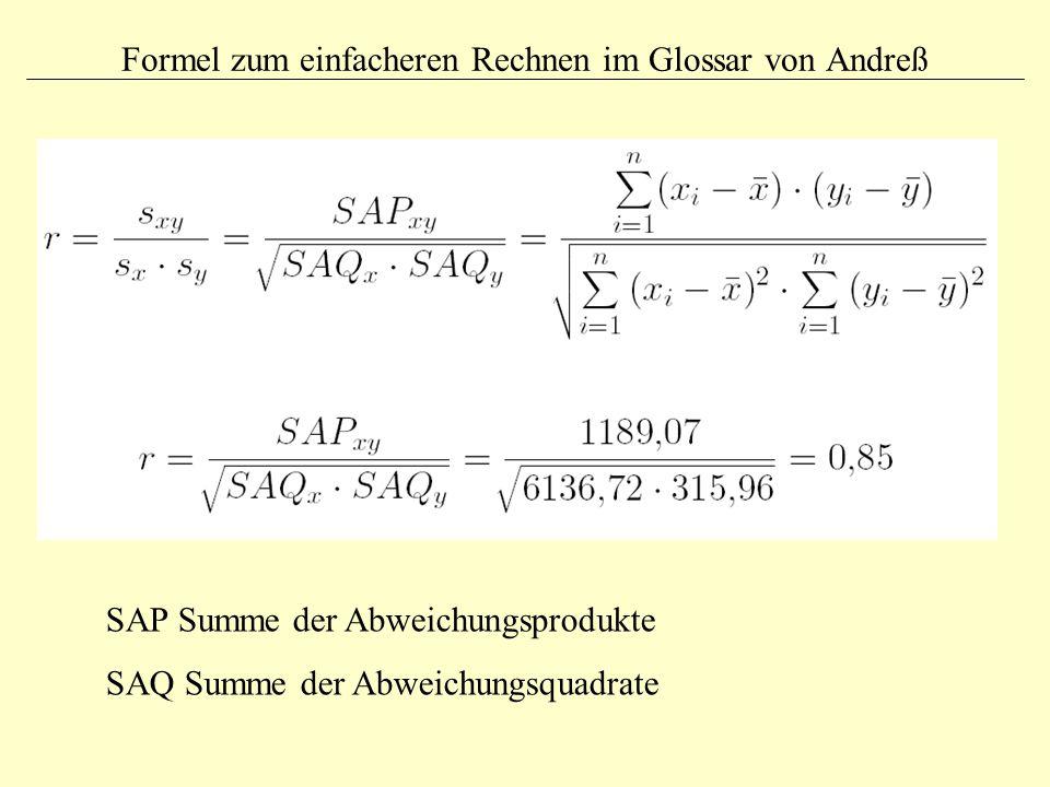Formel zum einfacheren Rechnen im Glossar von Andreß SAP Summe der Abweichungsprodukte SAQ Summe der Abweichungsquadrate