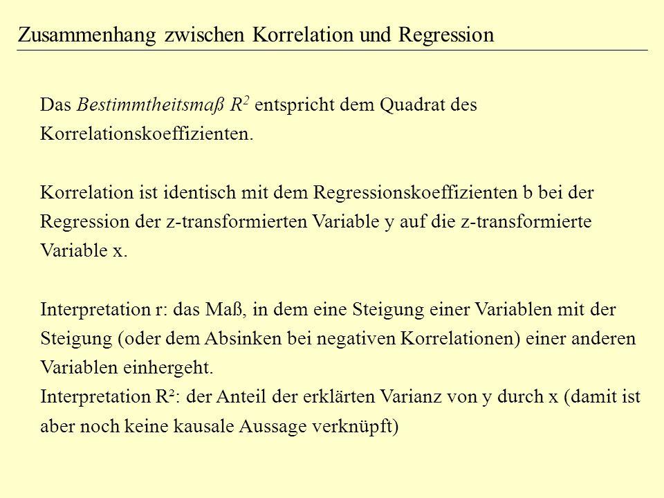 Zusammenhang zwischen Korrelation und Regression Das Bestimmtheitsmaß R 2 entspricht dem Quadrat des Korrelationskoeffizienten. Korrelation ist identi