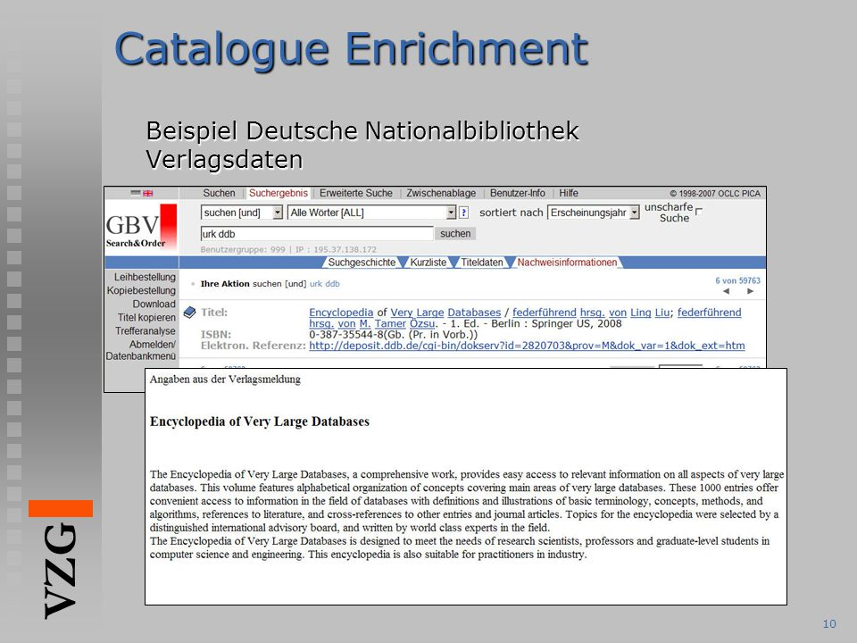 VZG 10 Catalogue Enrichment Beispiel Deutsche Nationalbibliothek Verlagsdaten