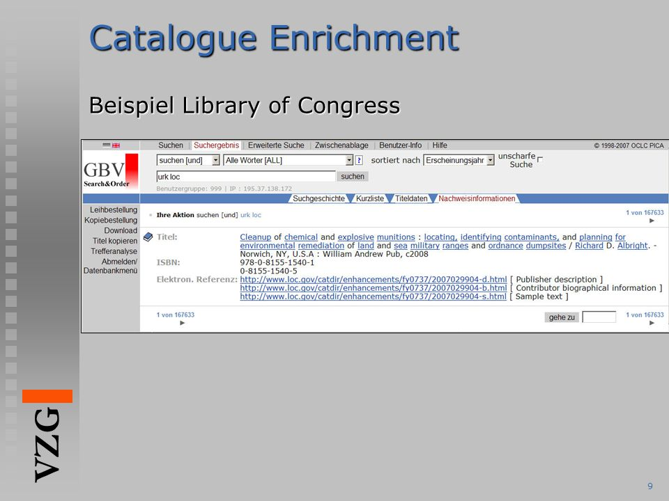 VZG 9 Catalogue Enrichment Beispiel Library of Congress