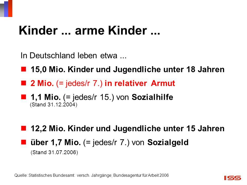 Kinder... arme Kinder... In Deutschland leben etwa... 15,0 Mio. Kinder und Jugendliche unter 18 Jahren 2 Mio. (= jedes/r 7.) in relativer Armut 1,1 Mi