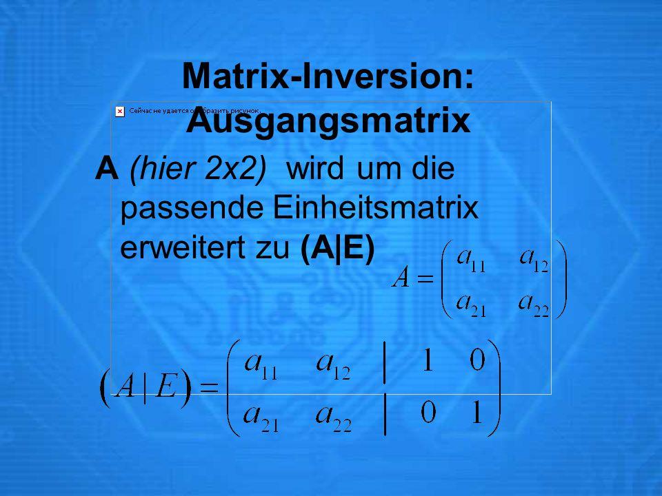 Matrix-Inversion: Ausgangsmatrix A (hier 2x2) wird um die passende Einheitsmatrix erweitert zu (A|E)