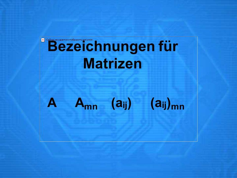 Bezeichnungen für Matrizen A A mn (a ij ) (a ij ) mn